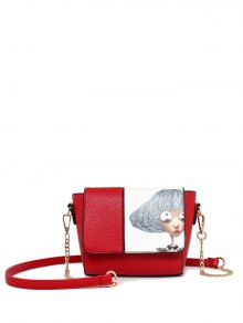 Characters Printed Chain Colour Spliced Crossbody Bag