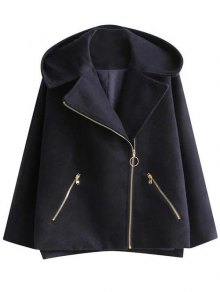 Hooded A Line Wool Blend Coat