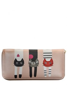Cat Pattern PU Leather Colour Spliced Wallet - Pink