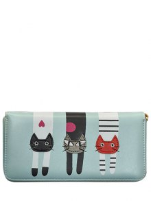 Cat Pattern PU Leather Colour Spliced Wallet - Light Blue