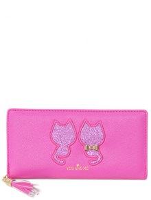 Buy Sequins Cat Pattern Tassels Wallet - ROSE MADDER