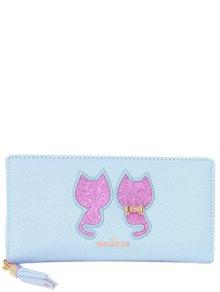 Buy Sequins Cat Pattern Tassels Wallet - LIGHT BLUE