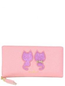 Buy Sequins Cat Pattern Tassels Wallet - PINK