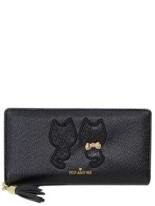 Buy Sequins Cat Pattern Tassels Wallet - BLACK