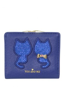 Buy Animal Pattern Sequins Bow Wallet - BLUE