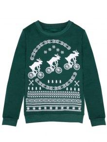 Buy Merry Christmas Fawn Print Sweatshirt XL GREEN