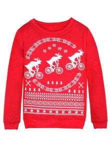 Buy Merry Christmas Fawn Print Sweatshirt S RED