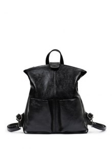 Double Pocket Magnetic Closure PU Leather Backpack - Black