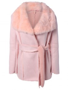 Rabbit Fur Collar Fleece Coat