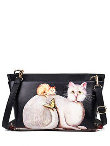 Cat Printed Colour Block Rivets Crossbody Bag