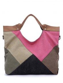 Patchwork Canvas Color Splicing Tote Bag