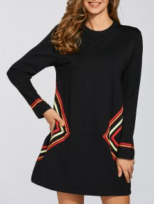 Long Sleeve Geometric Mini Black Shift Dress - Black