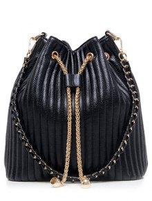 Drawstring Magnetic Closure Chain Shoulder Bag - Black