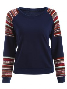 Tribal Print Sleeve Sweatshirt
