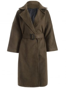 Wool Blend Winter Wrap Coat - Army Green L