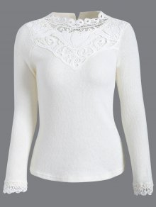 Crochet Trim Jumper - White M