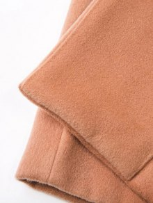Longline Lapel Collar Cocoon Coat - KHAKI M