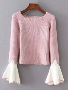 Bell Sleeve Contrasting Jumper