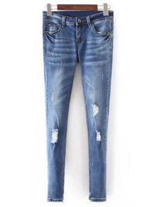 Bleach Wash Skinny Ripped Jeans - Blue