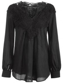 Crochet Floral Long Sleeve Blouse - Black S