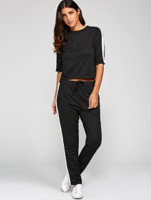1/2 Sleeve T Shirt + Pants - Black S