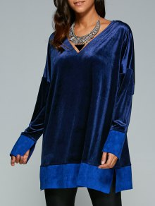 Contrast Hem Side Slit Velvet Dress - Sapphire Blue M