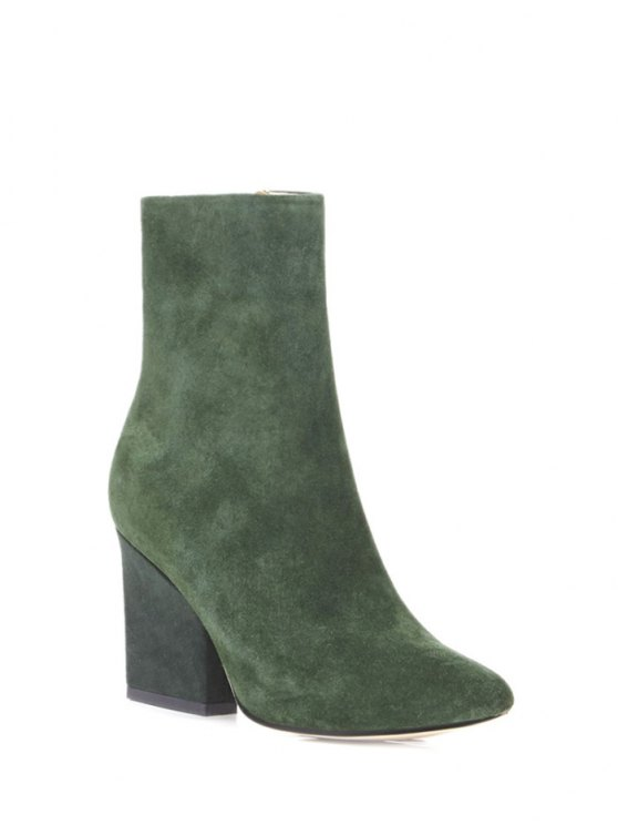 Side Zip Pointed Toe Chunky Heel Short Boots - GREEN 37 Mobile