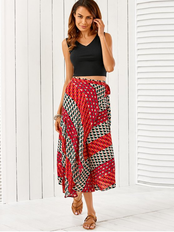 women V Neck Crop Top With High Slit Geometric Skirt - COLORMIX ONE SIZE