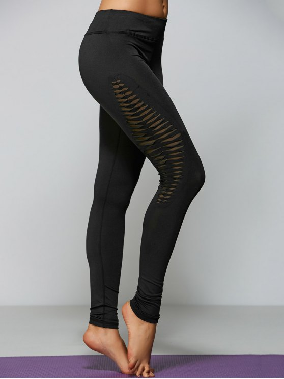 outfit Ripped Tight Fit Sports Leggings - BLACK L