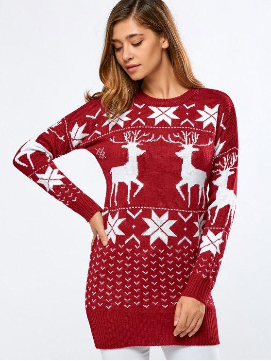 Impreso suéter largo - Rojo Única Talla