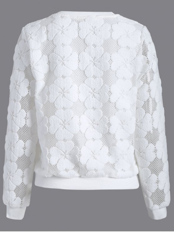 Flocked Mesh Sweatshirt - WHITE L Mobile