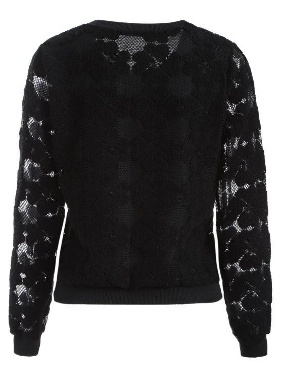 Flocked Mesh Sweatshirt - BLACK M Mobile