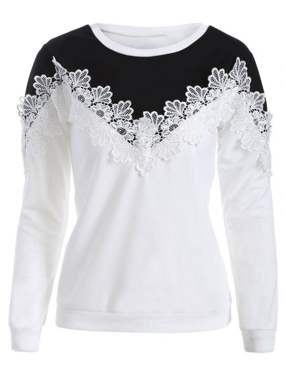 unique Chevron Panel Sweatshirt - WHITE AND BLACK 2XL