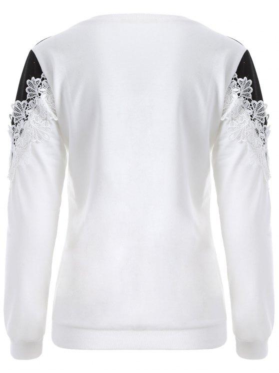 Chevron Panel Sweatshirt - WHITE AND BLACK L Mobile