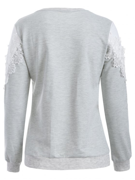 Chevron Panel Sweatshirt - GREY AND WHITE M Mobile