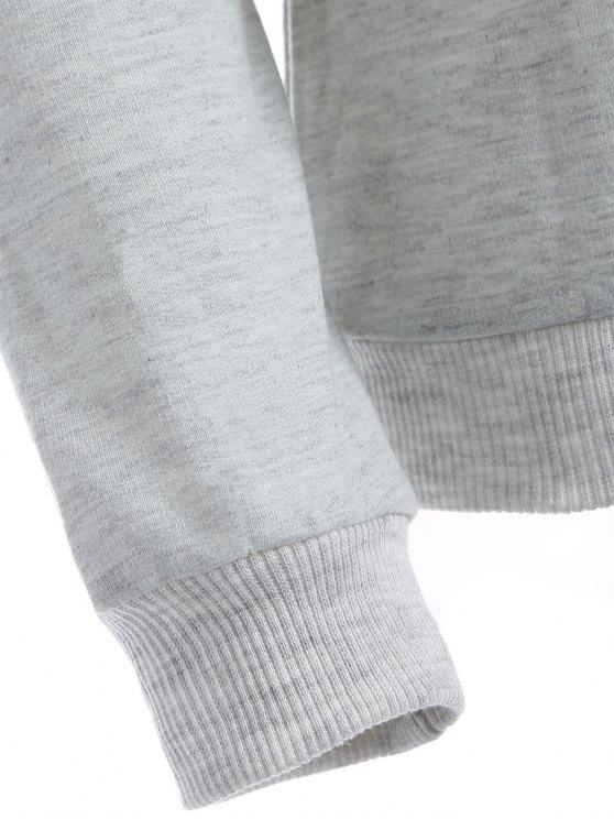Chevron Panel Sweatshirt - GREY AND WHITE XL Mobile