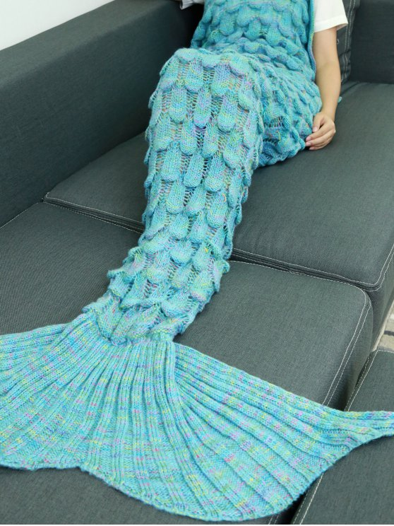 Fish Scale Knit Mermaid Throw Blanket - LAKE BLUE  Mobile