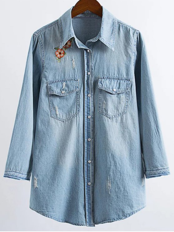 womens Ripped Embroidered Denim Shirt - LIGHT BLUE M