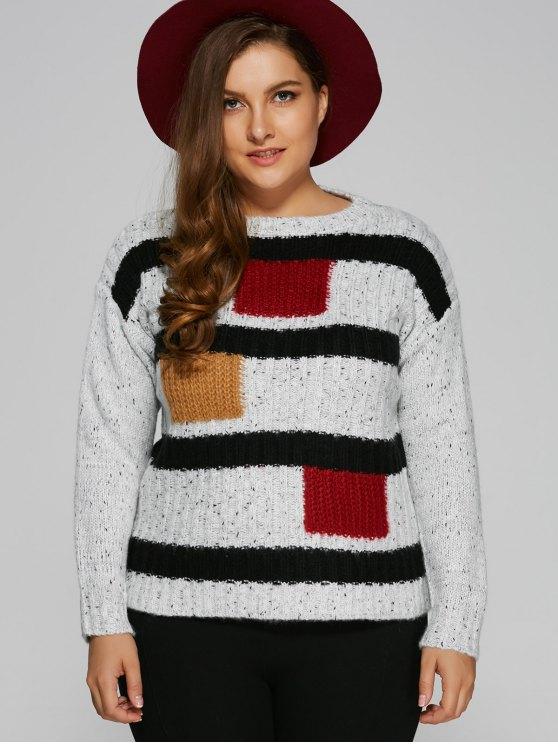 Bloque de color más el tamaño del suéter Pullover - Blanco Única Talla