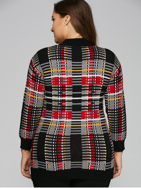 Plus Size Tartan Sweater - BLACK ONE SIZE Mobile