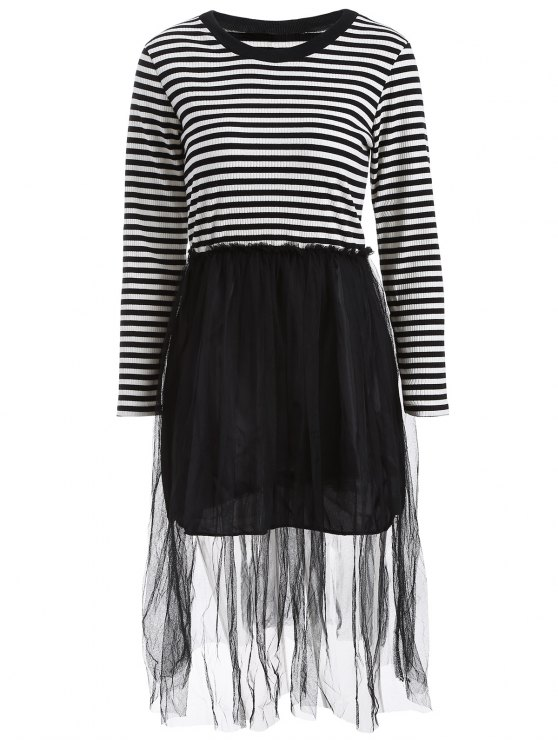 chic Striped Mesh Spliced Faux Twinset Sweater Dress - BLACK 2XL