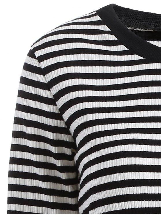Striped Mesh Spliced Faux Twinset Sweater Dress - BLACK 2XL Mobile