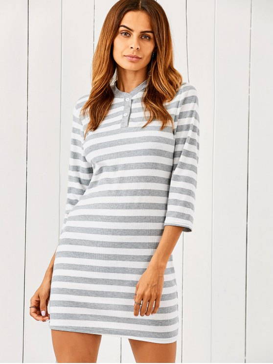 women's Striped Slimming Sweater Dress - GREY AND WHITE M