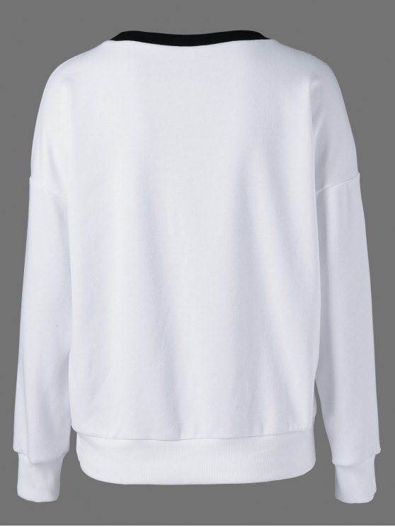 Printing Drop Shoulder Sweatshirt - WHITE AND BLACK XL Mobile