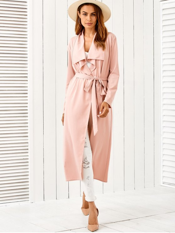 Belted Shawl Collar Trench Coat - PINK S Mobile