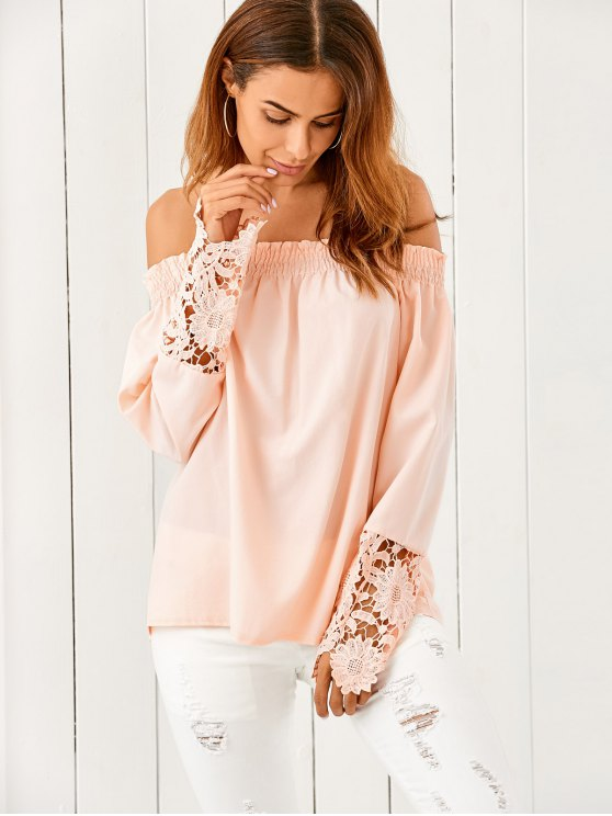 women Off The Shoulder Loose Blouse - NUDE PINK S