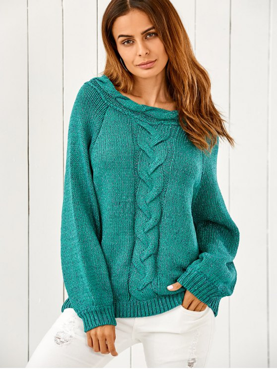 Manga abultada grueso suéter - Verde Única Talla