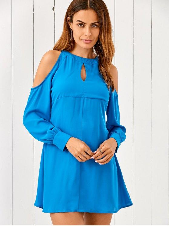 Cut Out Cold Shoulder vestido de la gasa - Azul S