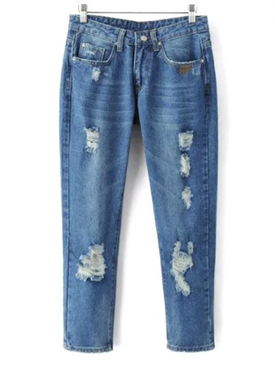 Skinny Ripped Narrow Feet Jeans - DENIM BLUE M Mobile