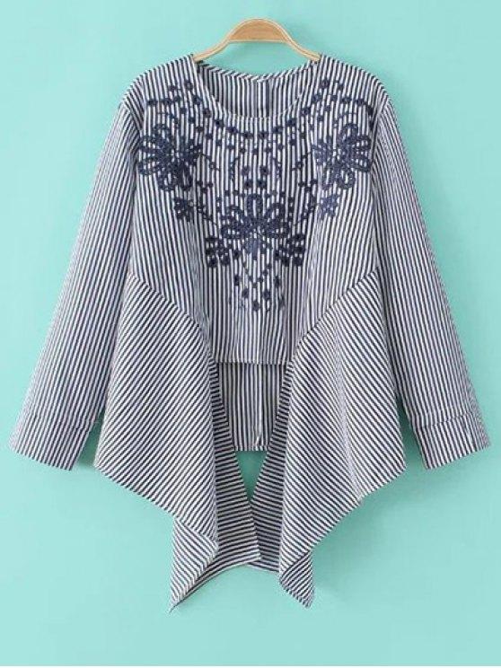 Asimétrico bordado blusa ray - Azul y Blanco M